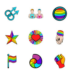 Unisexual relation icons set cartoon style vector