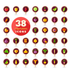 vegetables flat retro pin map icons set vector image