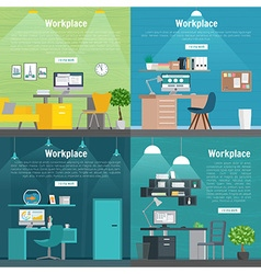 Banner set office workplace interior design vector