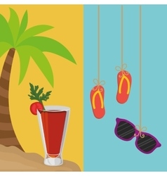 Beach palm cocktail and flip flop sunglasses vector