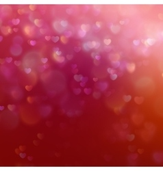 Color bokeh on red background with hearts eps 10 vector