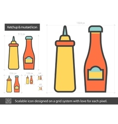 Ketchup and mustard line icon vector