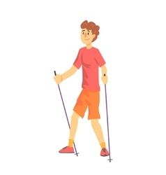 Blond man in shades doing nordic walk outdoors vector