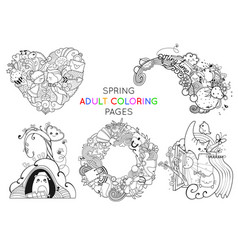 Set of spring adult coloring pages template vector