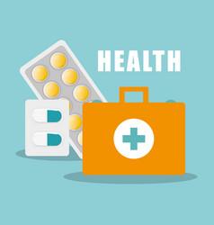 Kit first aid capsule pills medicine vector