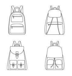 Set of outlines of backpacks vector