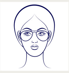 Female face with glasses vector