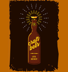 craft beer retro poster vintage sign with bottle vector image