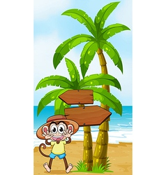A monkey at the seashore near the wooden vector