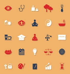 Meditation classic color icons with shadow vector