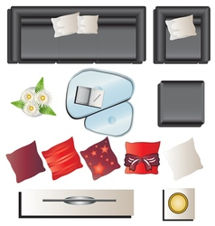 Living room furniture top view set 6 for interior vector