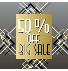 Golden black sale banner template in art deco vector