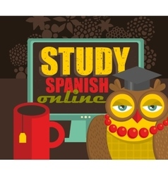 Teacher owl recommending course of spanish vector