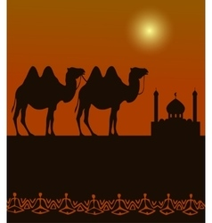 Camels on the desert with middle east architecture vector