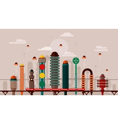 Retro future city vector