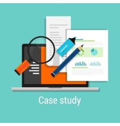 Case study studies icon flat laptop magnifier vector
