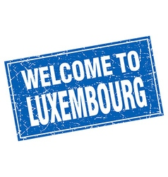 Luxembourg blue square grunge welcome to stamp vector