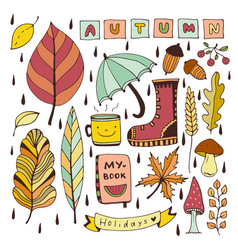autumn doodles isolated elements for stickers or vector image