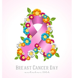 Breast cancer day campaign pink ribbon and flowers vector image