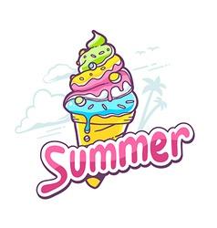 Bright ice cream on white background vector