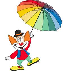cartoon funny clown holding an umbrella vector image