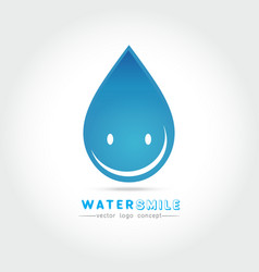 cartoon smile water drop character vector image vector image