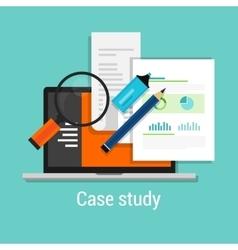 Case study studies icon flat laptop magnifier vector