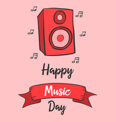 Celebration of music day greeting card vector