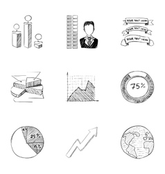 Company icons set hand drawn style vector