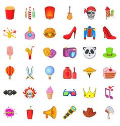 Costume ball icons set cartoon style vector