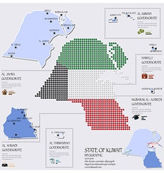 Dot and flag map of state of kuwait infographic vector