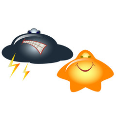emoji emoticons in the form of funny cloud and vector image