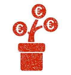 euro tree pot icon grunge watermark vector image