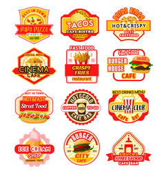 Fast food icons for fastfood restaurant vector