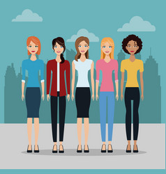 Female group fashion different city building vector