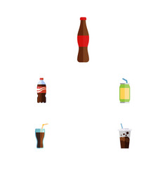 Flat icon soda set of bottle drink juice and vector