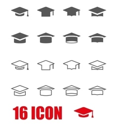 grey academic cap icon set vector image