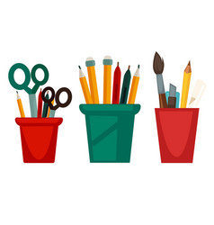 Home and office work stationery in cups vector
