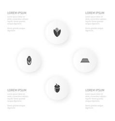 Icon farm set of cereal hazelnut popcorn and vector
