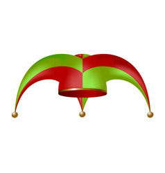 Jester hat in red and green design vector