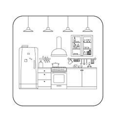 Kitchen line interior vector