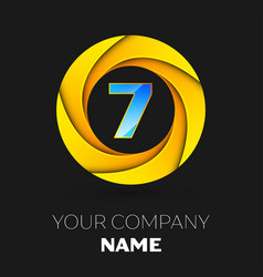 number seven logo symbol in colorful circle vector image vector image