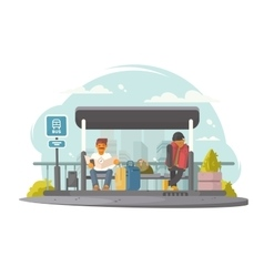 Passengers at bus stop vector image