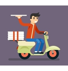 Pizza delivery courier motorcycle scooter box vector