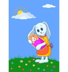 rabbit mother with baby vector image vector image