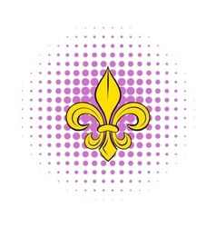 Royal french lily icon in comics style vector