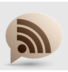 Rss sign brown gradient icon on vector