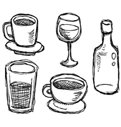 scribble series - drinks vector image