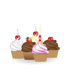 set of birthday cupcakes vector image