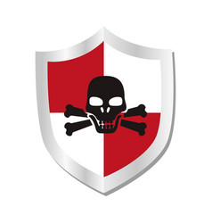 Shield with skull security symbol isolated icon vector